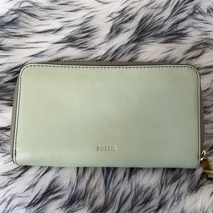 Fossil Leather Wallet Mint Green